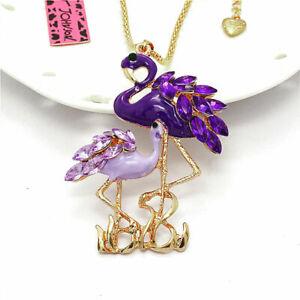 Beautiful Purple Enamel Crystal Flamingo Pendant Betsey Johnson Sweater Necklace