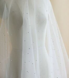 bridal crystal clear rhinestones gems ivory tulle fabric sold by Per 0.5 Meter