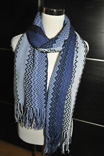 """AUTH NEW $200 MISSONI XL Knit Wool Blend Blue Scarf  Wrap 15""""X78"""" Made in Italy"""