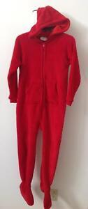 footedpajamas.com footed feetie hoodie red chenille cozy pajamas kids XL 14