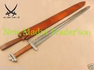 "38"" DAMASCUS WRAP BROWN LEATHER HANDLE REAL HANDMADE VIKING SWORD"
