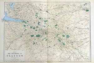 ENVIRONS OF GLASGOW  - Original Large Antique Map / Plan - Bacon, 1883 .