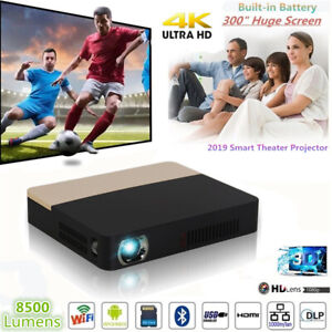 8500Lumens Android 1080P 4K DLP WIFI 3D Home Cinema Projector HDMI +2x3D glasses