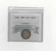 **1887**, Coin Mart  Graded Canadian,  10  Cent, **VG-8**