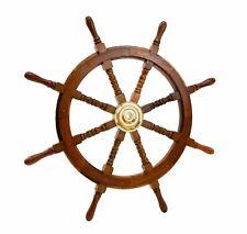 Big 36 Inch Ship Wheel Wooden Antique Brass Nautical Pirate Ship Christmas Gift