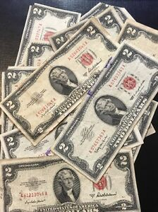 1953 Two Dollar Bills • Well Circulated Two Dollar ($2) Red Seal Notes • 1 Bill