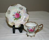 Vintage Royal Halsey Cup & Saucer - Footed Floral Iridescent Lustre - Rare Size