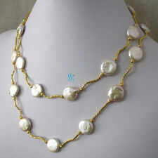 """35"""" 13-14mm White Coin Freshwater Pearl Necklace Tube G UK"""