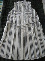 H&M striped viscose shirt dress with pockets and belt UK10 EUR38 NWT