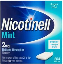 Nicotinell Nicotine Gum, Quit Smoking Aid, Mint Flavour, 2 mg, 204 Pieces