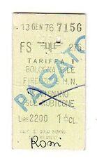 BIGLIETTO FERROVIARIO  EDMONSON   BOLOGNA  FIRENZE 1° CLASSE    13-1-1976