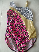 NEW BALERA DANCEWEAR LEOTARD dance gymnastics ZEBRA pink foil CHILDS LARGE CL