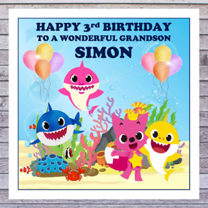 KIDS SHARK BIRTHDAY CARDS - personalised with any AGE RELATIONSHIP & NAME