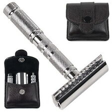 NTS-Solingen Rasierhobel Parker REISE SET im LEDER-ETUI Travel Safety Razor TOP!