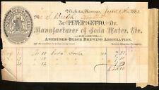 1882 St Louis Lager Label Anheuser Busch Mo Witchita Kansas Peter Getto Billhead