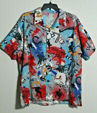 Vintage Mens Size 3X Abstract Skateboard Park Print Short Sleeve Button Up Shirt