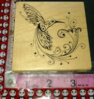 Enchanted hummingbird with flower, inkadinkado,117, wooden,rubber,stamp