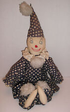 """Old Hand Sewn FABRIC CLOWN DOLL One of a Kind 22"""" Loads of Character Koko Esque"""