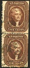 Scarce Stamps US #30 5c Orange Brown 1860 Used Vertical Pair Fresh CV $3,500+