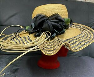 Gorgeous Vintage Marzi Straw Hat With Extra Wide Brim NWOT