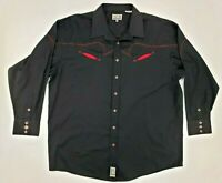 Panhandle Slim Mens Western Shirt XXL Black/Red Pearl Snap Button Up