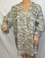 Studio JPR Women Plus Size 1x 2x 3x Green Khaki Camouflage Top Blouse Shirt