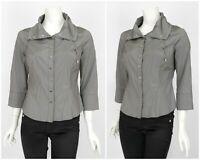 Womens Karen Millen Snap Blouse Shirt Grey 3/4 Sleeve Size 14UK / 10US