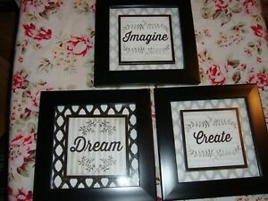 "Lot (3) ""Dream-Imagine-Create""  Inspirational Decor 7"" Square w/Black Frames 333"