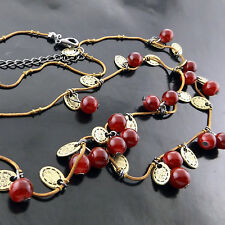 A586 GENUINE REAL 18CT ROSE G/F GOLD SOLID RED CORAL BEAD PENDANT NECKLACE CHAIN