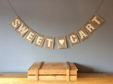 ❤️ SWEET TROLLEY Candy Cart Hessian Wedding Bunting Banner Vintage Burlap❤️