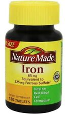 Nature Made Iron 65 mg. Tablets 180 Ct FREE SHIPPING EXP: 03/2021