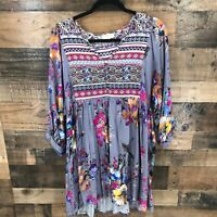 Umgee Women's Gray Boho Floral Button Front Peasant Dress Size Large