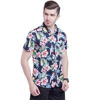 New  top mens short sleeve floral printed hawaiian beach shirt cotton summer