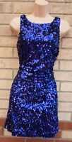 NEW LOOK PURPLE SEQUINS HALF BACKLESS BODYCON BEADED SEQUIN XMAS DRESS 8 S