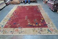 Vintage Art Deco Chinese Rug 8'-9 x 11'-8 Hand Knotted Wool 1940's