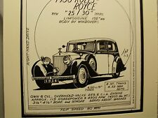 1936 Rolls Royce   Auto  Pen Ink Hand Drawn Poster Automotive Museum Archives