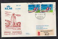 A-28) beautiful FFC First Flight 1980  KLM - Zurich to Guayaquil