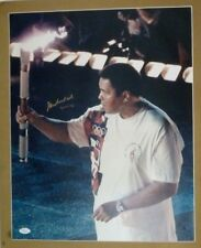 MUHAMMAD ALI AUTOGRAPHED 16X20  OLYMPIC TORCH COLOR PHOTO /JSA AUTHENTICITY