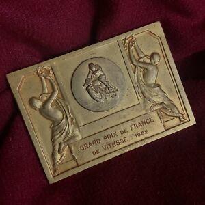 Antique 1962 France Olympic Sport F1 Car Speed Motor Race Bronze Medal Award Old