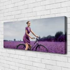 Canvas print Wall art on 125x50 Image Picture Woman Bicycle Meadow People