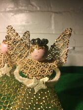 Vintage Christmas Angels 4.5 Inches Tall Tinsel Mesh And Mercury Glass Halo