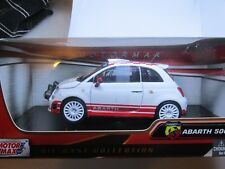 Motormax 1/24 Scale 73379 Fiat 500 Abarth R3t White Red Diecast Model Car