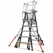 Little Giant Fiberglass Aerial Safety Cage Adjustable Platform Ladder 18503-2