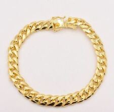 "Italian 8.5"" Solid Miami Cuban Bracelet Double Lock 14K Yellow Gold Clad Silver"
