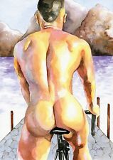 "PRINT Original Art Work Watercolor Painting Gay Male Nude ""Cyclist"""