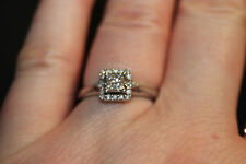 10K White Gold Square Cut 1/4 CTW Diamond Engagement Promise Ring Size 6.25