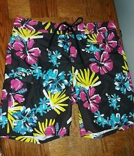 New $50 Gotcha Men's Size 35 Black Floral Unlined Swim Trunk Drawstring