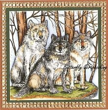 WOLF THREE WOLVES IN THE WOODS Wood Mounted Rubber Stamp NORTHWOODS PP9977 New