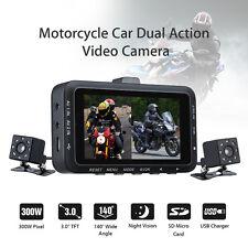 "Motorcycle Car Mounted Biker Action Video Camera DVR Front & Back 3.0"" LCD DV168"
