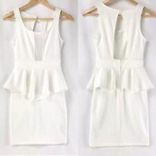 White Mesh Front Peplum Ruffle Bodycon Sheath Dress Small Party Dress